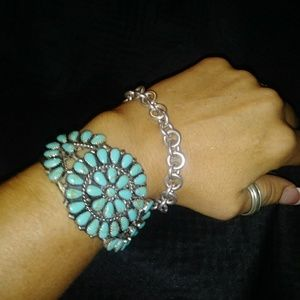 Jewelry - Handcrafted. Authentic Turquoise stamped bracelet